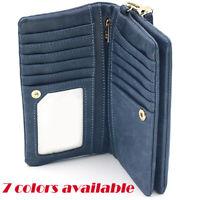 Women Large Capacity Leather Bifold Ladies Clutch Wallets Wrist Strap Long Purse