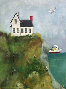 Folk art painting ocean house seagull lobsterman gouache on board original 8x6