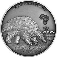 Ghana 5 Cedis 2019 Pangolin Silver Ounce Antique Finish Münze Schuppentier