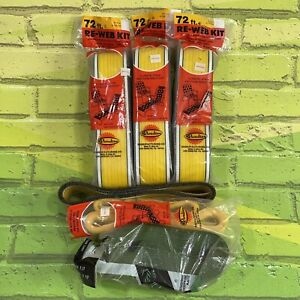 Vintage Lot Of 3 Lawn Chair Replacement Webbing Re-Web Kit 72' X 3 Plus Extra