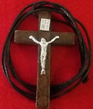 """1 3/4"""" WOOD CRUCIFIX SILVER WOODEN CROSS POPE PENDANT+NEW NECKLACE RELIGIOUS"""