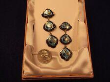 Colorful Guilloche Enamel Long Earrings Fantastic Handcrafted Sterling Silver &