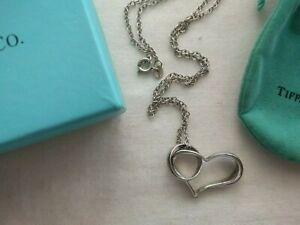 """TIFFANY & CO. OPEN HEART & RING NECKLACE ON 18"""" CHAIN"""