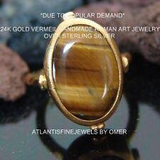 HANDMADE DESIGNER TIGER EYE RING 24K YELLOW GOLD OVER STERLING SILVER BY OMER