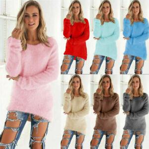 Women Winter Fleece Fluffy Sweater Jumper Ladies Warm Plain Pullover Tops Blouse