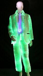 Light up Fiber Optic Costume Suit Set (Jacket+Trousers+Vest+Necktie) for Party