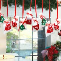 DIY Christmas Countdown Advent Calendar Candy Bags Hanging New Year Xmas Decor