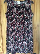 KIM & CO ABSTRACT PRINT TUNIC TOP DRESS L/G LARGE 733 CARDINAL RED MULTI