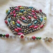 "Vtg Mercury Glass Garland Antique Patriotic Beads Various Sizes & Shapes 100"""