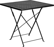 28'' Square Indoor-Outdoor Restaurant Fordable Patio Table in Black Steel Metal