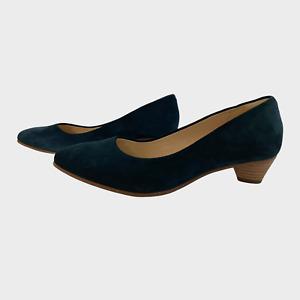CLARKS CUSHION PLUS Ladies Womens Shoes Size UK 4 EU 37 Blue Suede Court Heels