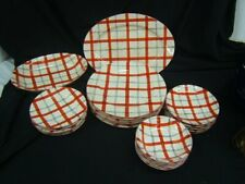 Highland by Takito Japan Plaid Dinnerware Lot of Pieces w/ Serving Pcs