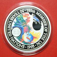 "Palau 5 Dollar 1995 ""50 Years UN"" #F3360 Coloured ""185th Member of the UN"" COA"