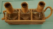 Wood Box With 3 Glasses Antique Look