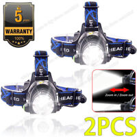 2x Rechargeable Tactical 350000LM T6 LED Headlamp 1865*0 Headlight Head Torch US
