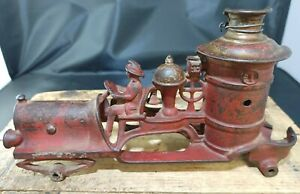 """Antique Hubley Toy 10. 5"""" Cast Iron Pumper Fire Engine • For Parts ~ Salvage"""