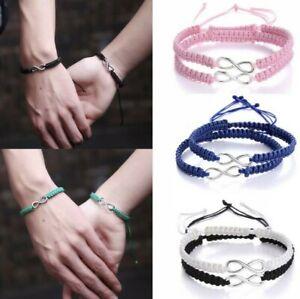 Infinity Bracelets 2pc set Handmade braided adjustable Love friendship bracelet