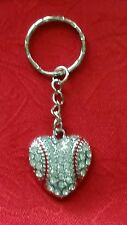 """LARGE BASEBALL HEART WITH CLEAR  CRYSTALS KEYCHAIN - 3"""" SPORTS - SOFTBALL"""