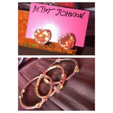 Betsey Johnson Pink Jewel And Gold Bangles And Earrings