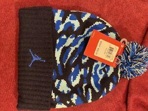 Jordan Blue Black Camouflage Size 8/20 Pom Beanie Winter Hat 9A1711 U90 - NWT