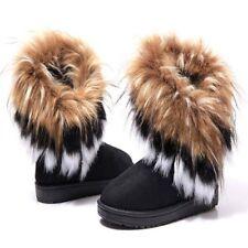 US SHIP Womens Warm Tassel Boots High Long Ankle Rabbit Fur Snow Shoes Hot Sale