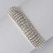 "7"" Vintage Womens white Gold Filled 5-Row Clear Rhinestone Tennis Bracelet"