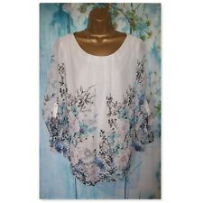 LADIES WALLIS TOP SIZE XL 18/20, Ivory Floral Floaty 3/4 tab sleeve Blouse Tunic