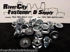 (2) M12-1.25 / 12mm x 1.25 Fine Thread Steel Flange Nuts Zinc 8.8    M12x1.25