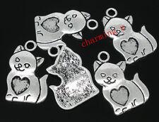 4pz charm Gatto cat  cuore  ciondolo x collana,bracciale colore tibet