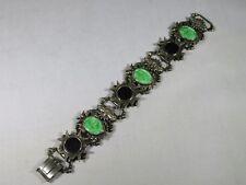 Vintage Bracelet Signed Art, Green Intaglio Stones & Black Inset Maltese Panels
