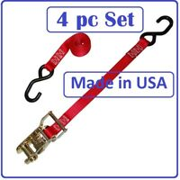 """4 Pack Heavy Duty Motorcycle Ratchet Tie Down Straps, 12' x 1"""" - Free Shipping"""