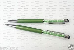 2 in 1 Green Crystal Stylus Touch Screen Capacitive Pen for Pad Phone Tablet