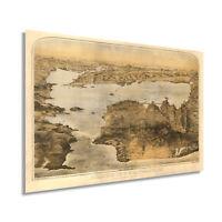 HISTORIX Vintage 1876 San Francisco Bay Area Map Art
