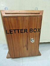 Indian teak wood wooden letter box big mailbox with SS lock function post box