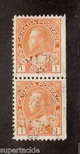 Canada 1928  #105 Θ used pair 1 Cent Orange Admiral stamp CDS Whitelaw Alberta