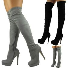 Womens Thigh High Boots Ladies Stretchy Over The Knee Long Plain Heel Shoes Size