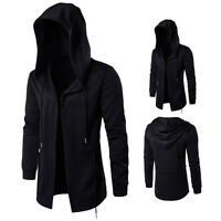 Fashion Men Hooded Jacket Long Cardigan Black Ninja Goth Gothic Punk Hoodie Coat