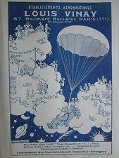 1928 PUB LOUIS VINAY PARACHUTE JEANJEAN PERE NOEL SANTA KLAUS PARADIS CIEL AD