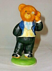 "A FRANKLIN MINT FINE PORCELAIN TEDDY BEAR 🐻 FIGURINE ""REGIE BRUIN"""