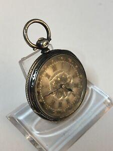Englische Taschenuhr verziert Silber 37mm