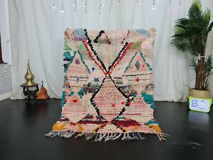 "Moroccan Tribal Vintage Handmade Rug 3'9""x5'2"" Geometric Colorful Berber Carpet"