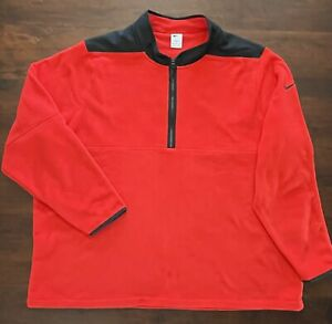 NIKE Men's Red & Black Long Sleeve 1/4 Zip Fleece Therma-Fit Size 4XL XXXXL