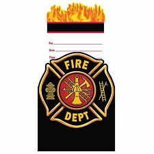 8 Fire Watch Firefighter Truck Birthday Party Invitations Invites plus Envelopes