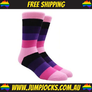 Pink/Purple Striped Dress Socks - Business, Colourful, Bright **FREE SHIPPING**