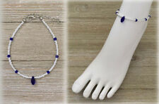 Royal Blue and White Color Beads Anklet Ankle Bracelet Fashion Jewelry