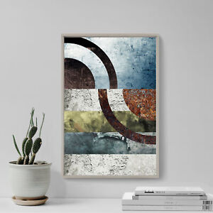"""Abstract Art Print """"DISJOINTED CIRCLES"""" Glossy Photo Poster Gift Texture"""