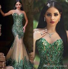 Arabic Style Emerald Green Mermaid Formal Party Evening Dresses Sheer Sweetheart