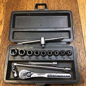 Craftsman USA 1/4 Drive Tool Standard Socket Set Ratchet Vintage V Permanex Case