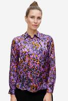 SAND Copenhagen - Seidenbluse Damen elegant Leoparden-Muster lila NEU: 224 €