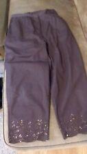 QUACKER FACTORY Brown Capris with Rhinestone Detail Hem Size M